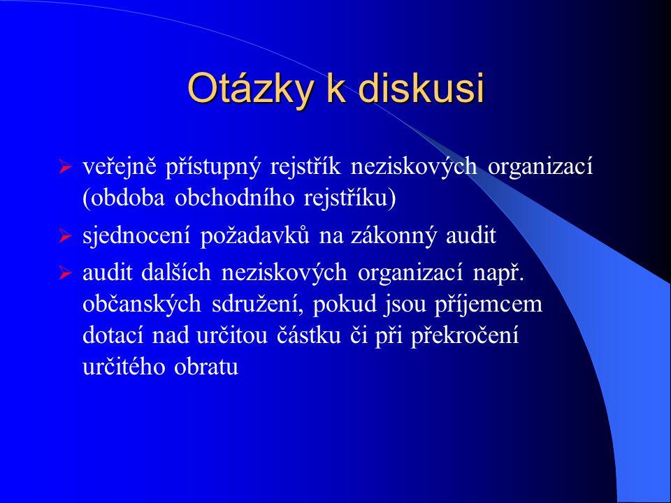 Otázky k diskusi  veřejně přístupný rejstřík neziskových organizací (obdoba obchodního rejstříku)  sjednocení požadavků na zákonný audit  audit dalších neziskových organizací např.