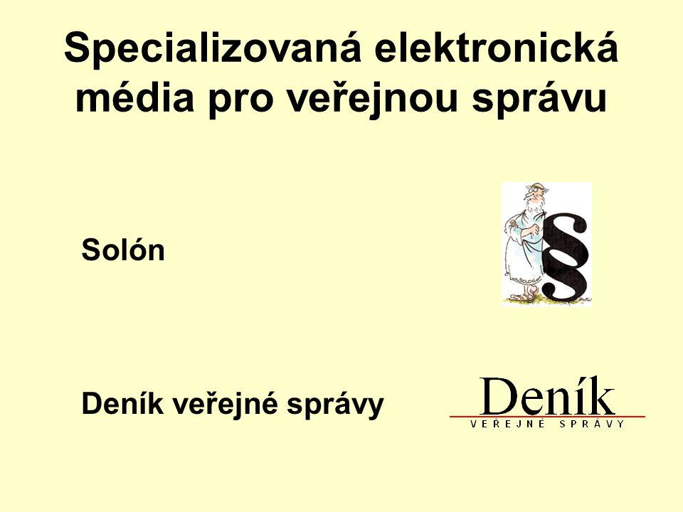 Specializovaná elektronická média pro veřejnou správu Solón Deník veřejné správy