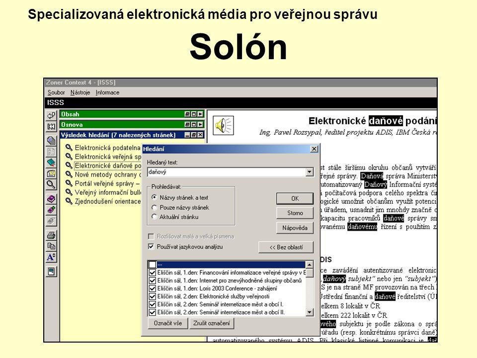 Specializovaná elektronická média pro veřejnou správu Solón