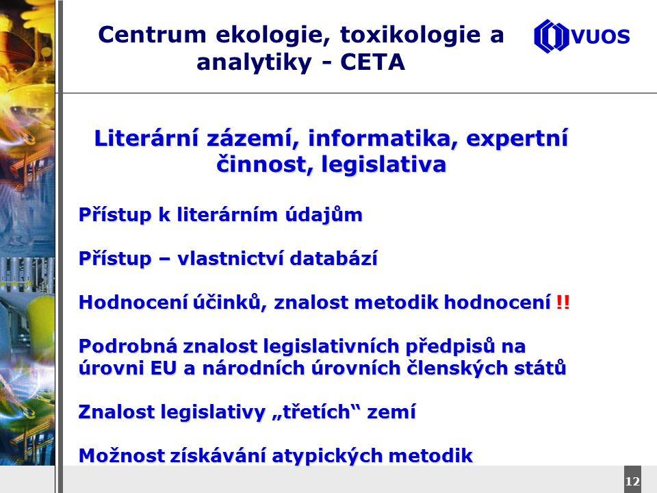 DyStar – Aliachem meeting 12 Centrum ekologie, toxikologie a analytiky - CETA Literární zázemí, informatika, expertní činnost, legislativa Přístup k l