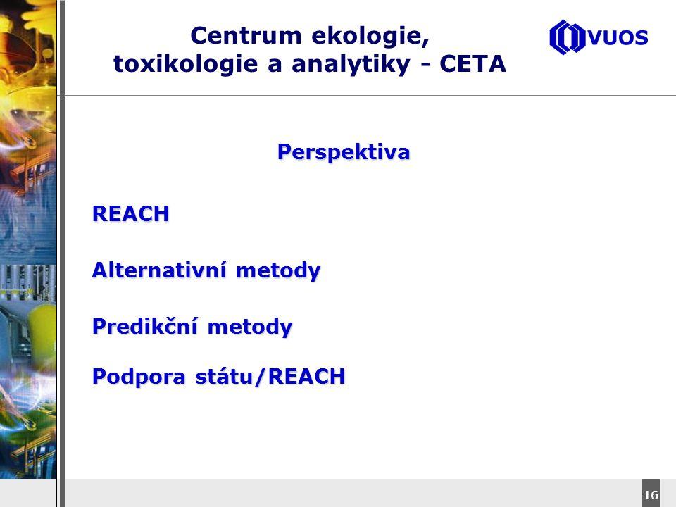 DyStar – Aliachem meeting 16 Centrum ekologie, toxikologie a analytiky - CETA Perspektiva REACH Alternativní metody Predikční metody Podpora státu/REA