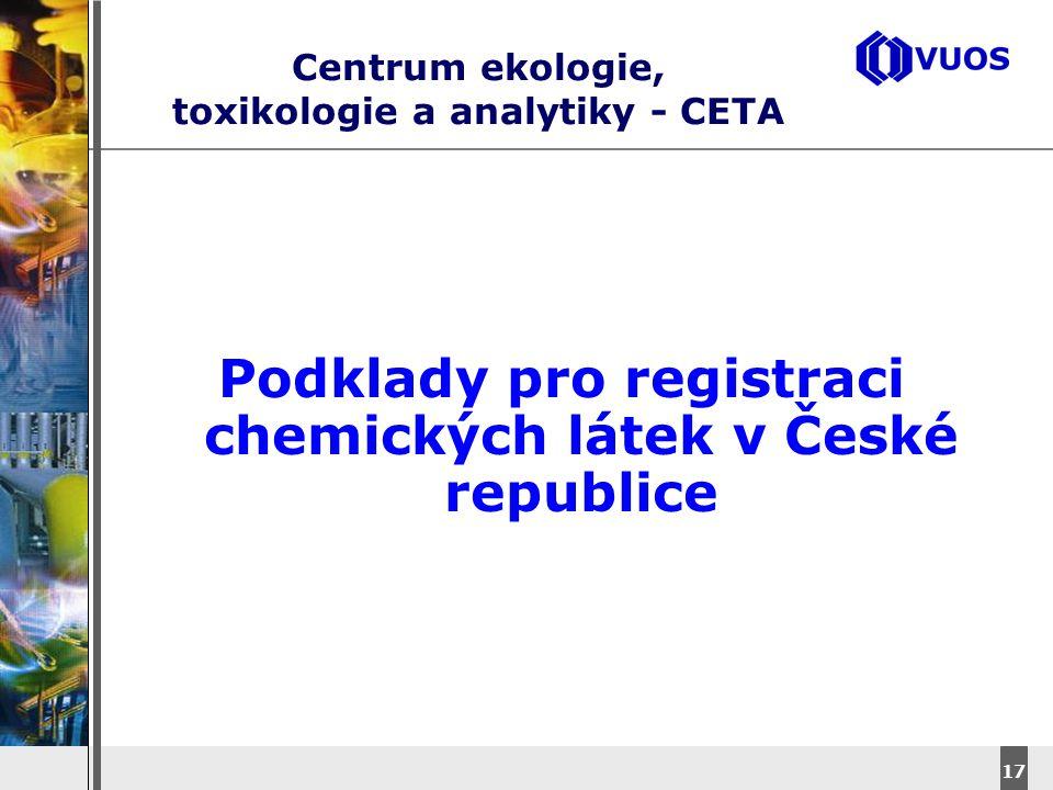 DyStar – Aliachem meeting 17 Centrum ekologie, toxikologie a analytiky - CETA Podklady pro registraci chemických látek v České republice