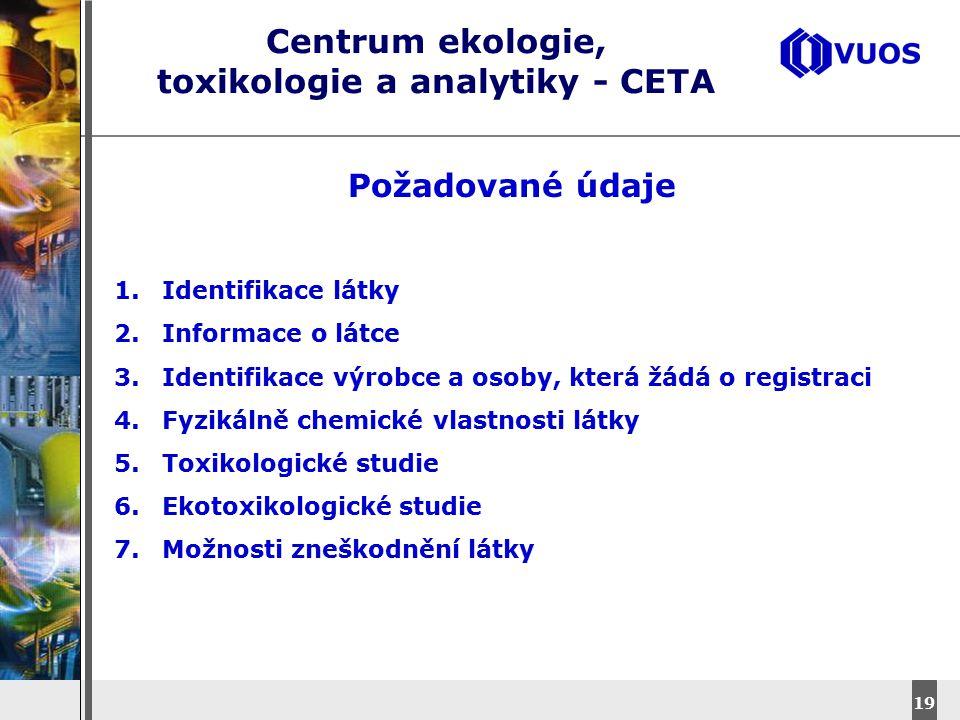 DyStar – Aliachem meeting 19 Centrum ekologie, toxikologie a analytiky - CETA Požadované údaje 1.Identifikace látky 2.Informace o látce 3.Identifikace