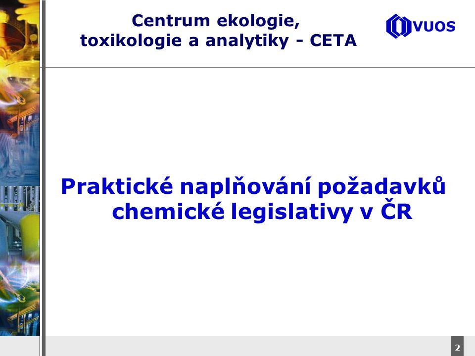 DyStar – Aliachem meeting 2 Centrum ekologie, toxikologie a analytiky - CETA Praktické naplňování požadavků chemické legislativy v ČR