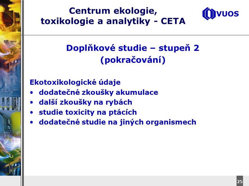 DyStar – Aliachem meeting 25 Centrum ekologie, toxikologie a analytiky - CETA Doplňkové studie – stupeň 2 (pokračování) Ekotoxikologické údaje dodateč