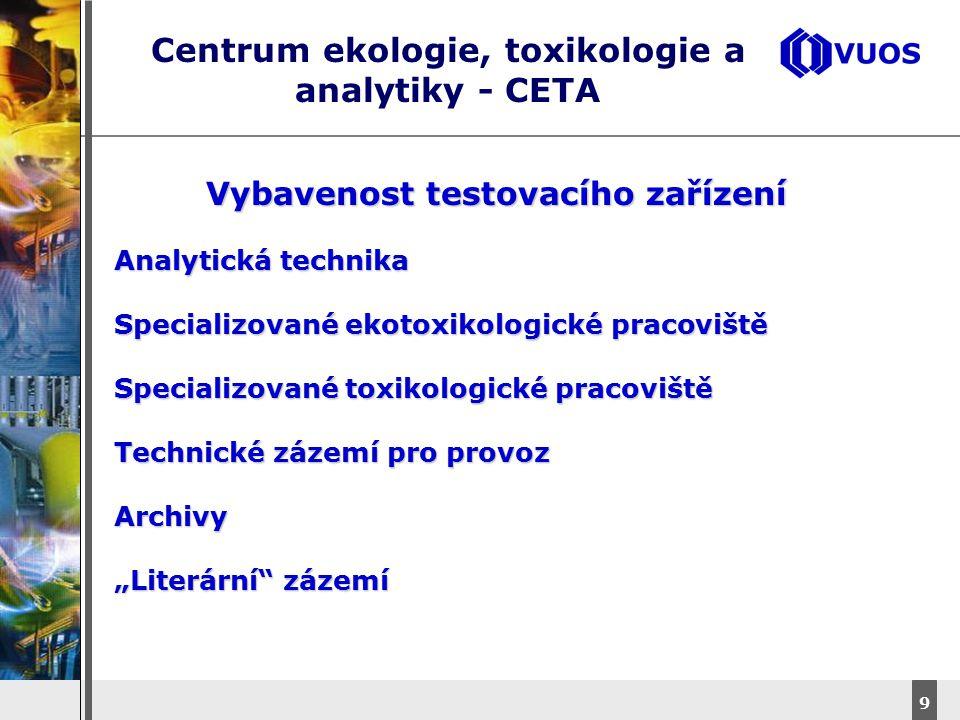 DyStar – Aliachem meeting 10 Centrum ekologie, toxikologie a analytiky - CETA Personální zabezpečení Personální zabezpečeníObchodAdministrativaQAU Informatika, legislativa Vlastní testování Expertní činnost Pomocné provozy