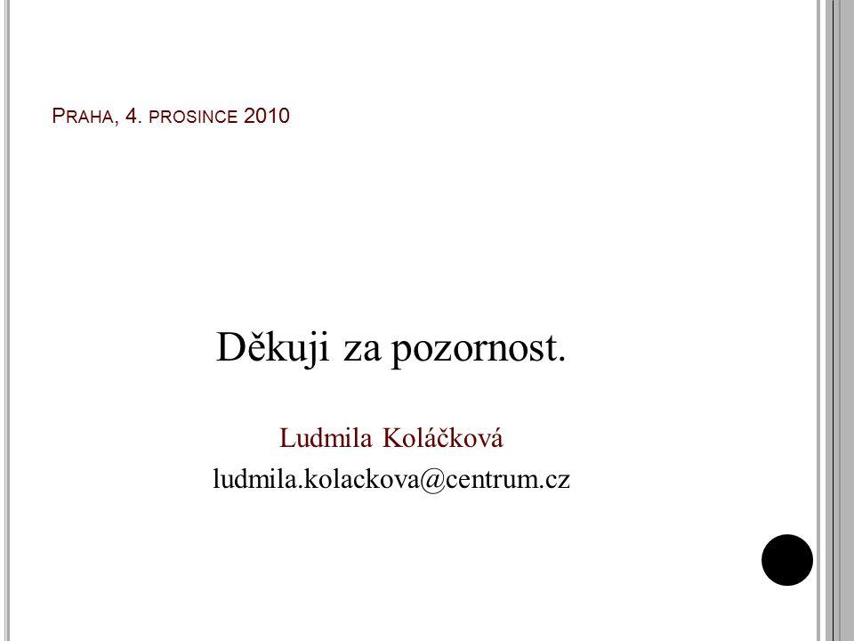 P RAHA, 4. PROSINCE 2010 Děkuji za pozornost. Ludmila Koláčková ludmila.kolackova@centrum.cz