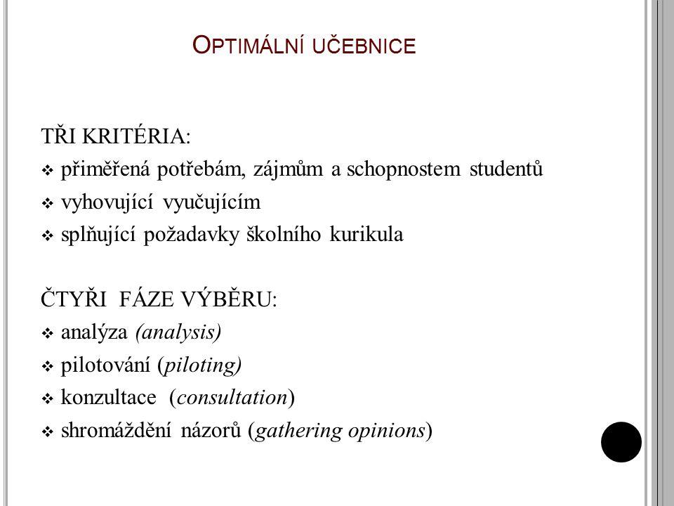 O PTIMÁLNÍ UČEBNICE TŘI KRITÉRIA:  přiměřená potřebám, zájmům a schopnostem studentů  vyhovující vyučujícím  splňující požadavky školního kurikula ČTYŘI FÁZE VÝBĚRU:  analýza (analysis)  pilotování (piloting)  konzultace (consultation)  shromáždění názorů (gathering opinions) (Harmer, 2008)