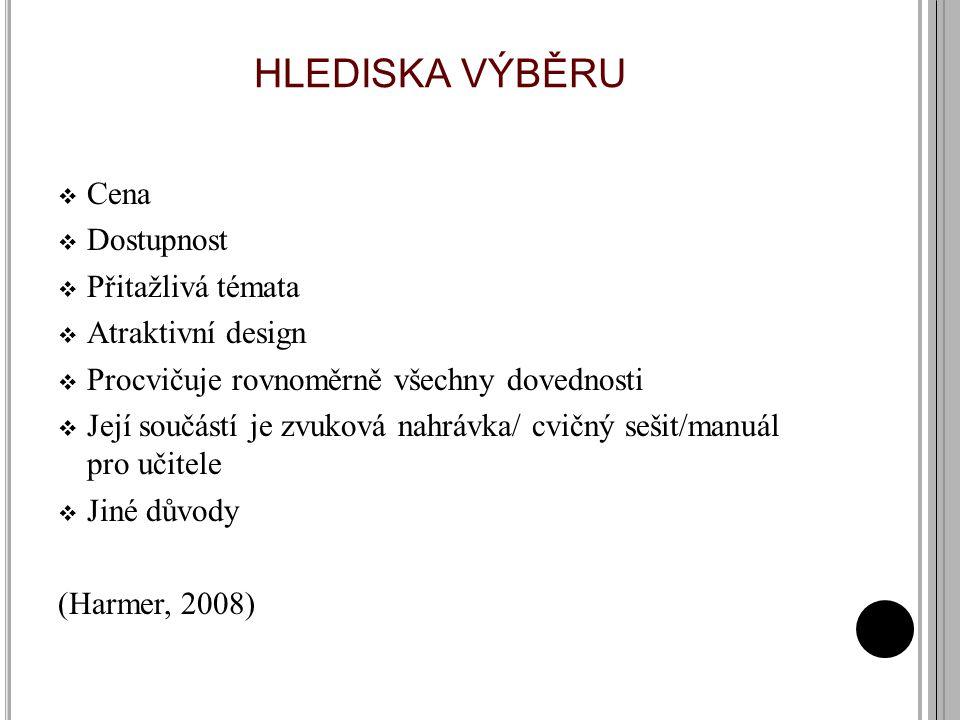 HLEDISKA VÝBĚRU  Cena  Dostupnost  Přitažlivá témata  Atraktivní design  Procvičuje rovnoměrně všechny dovednosti  Její součástí je zvuková nahrávka/ cvičný sešit/manuál pro učitele  Jiné důvody (Harmer, 2008)