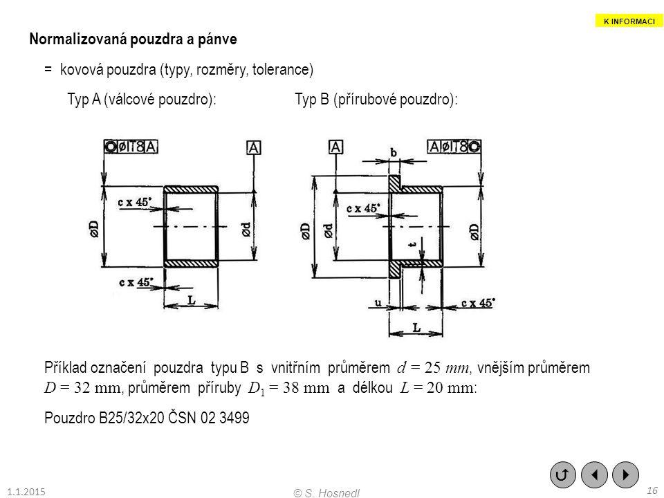 Normalizovaná pouzdra a pánve = kovová pouzdra (typy, rozměry, tolerance) Typ A (válcové pouzdro):Typ B (přírubové pouzdro): Příklad označení pouzdra