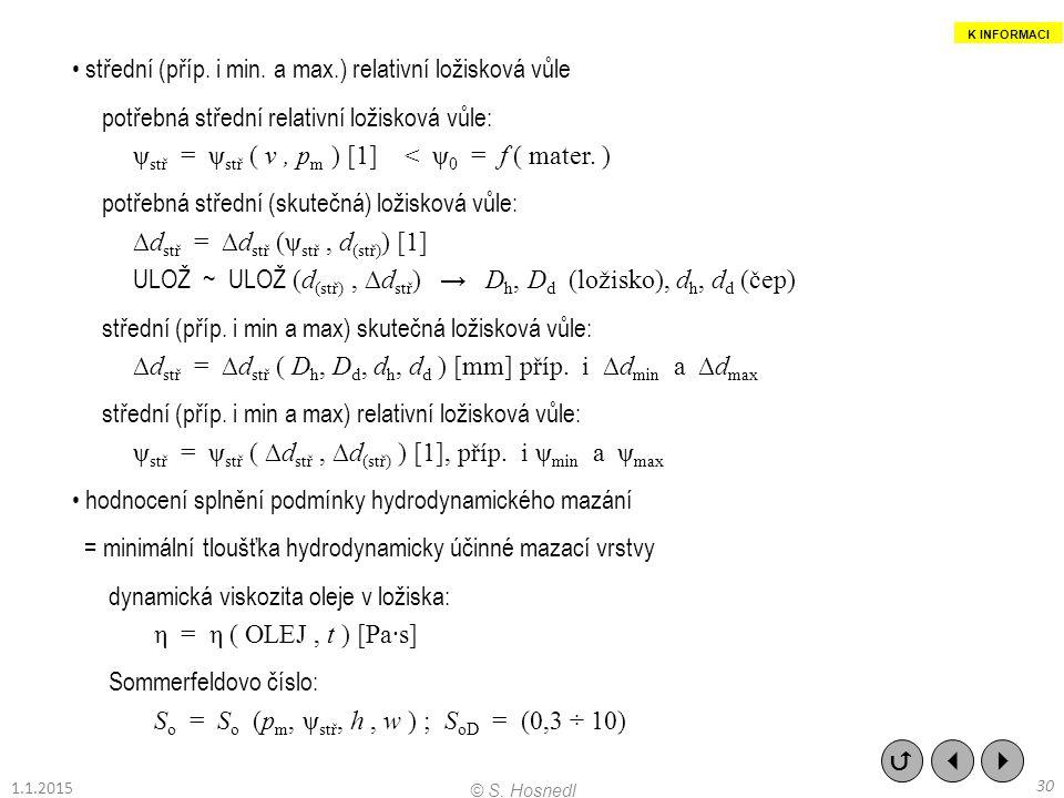 střední (příp. i min. a max.) relativní ložisková vůle potřebná střední relativní ložisková vůle: ψ stř = ψ stř ( v, p m ) [1] < ψ 0 = f ( mater. ) po