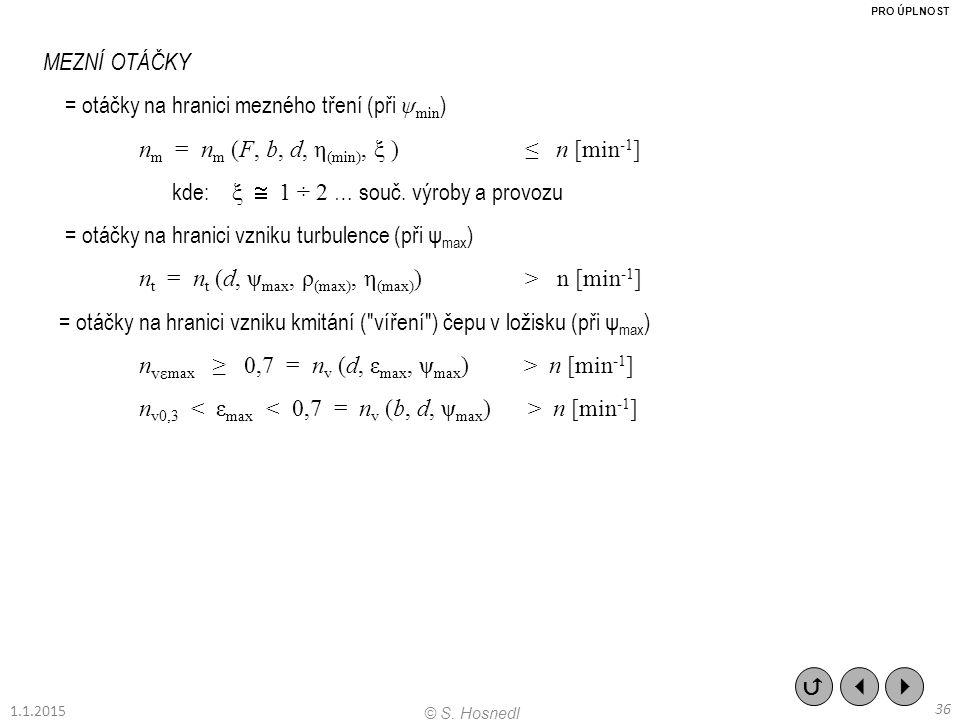 MEZNÍ OTÁČKY = otáčky na hranici mezného tření (při ψ min ) n m = n m (F, b, d, η (min), ξ ) ≤ n [min -1 ] kde: ξ  1 ÷ 2 … souč. výroby a provozu = o