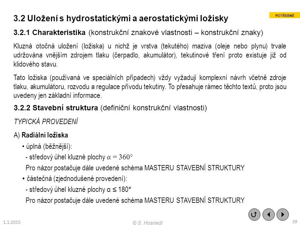 3.2 Uložení s hydrostatickými a aerostatickými ložisky 3.2.1 Charakteristika (konstrukční znakové vlastnosti – konstrukční znaky) Kluzná otočná uložen
