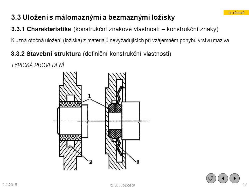 3.3 Uložení s málomaznými a bezmaznými ložisky 3.3.1 Charakteristika (konstrukční znakové vlastnosti – konstrukční znaky) Kluzná otočná uložení (ložis
