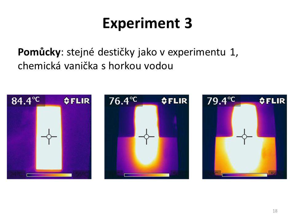 Experiment 3 Pomůcky: stejné destičky jako v experimentu 1, chemická vanička s horkou vodou 18