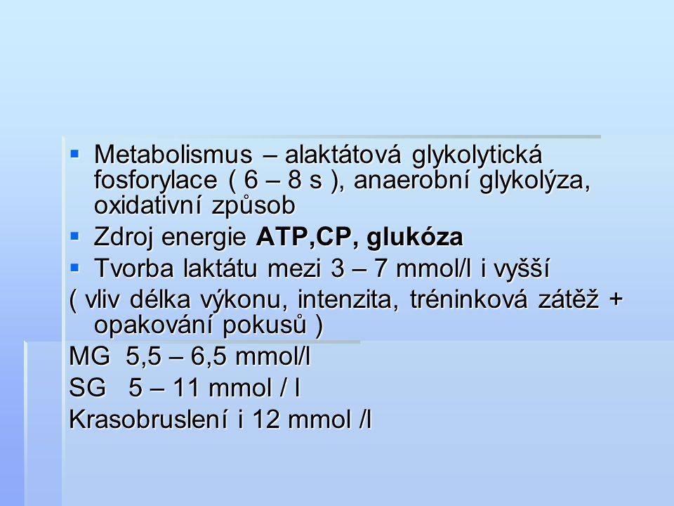  Metabolismus – alaktátová glykolytická fosforylace ( 6 – 8 s ), anaerobní glykolýza, oxidativní způsob  Zdroj energie ATP,CP, glukóza  Tvorba lakt