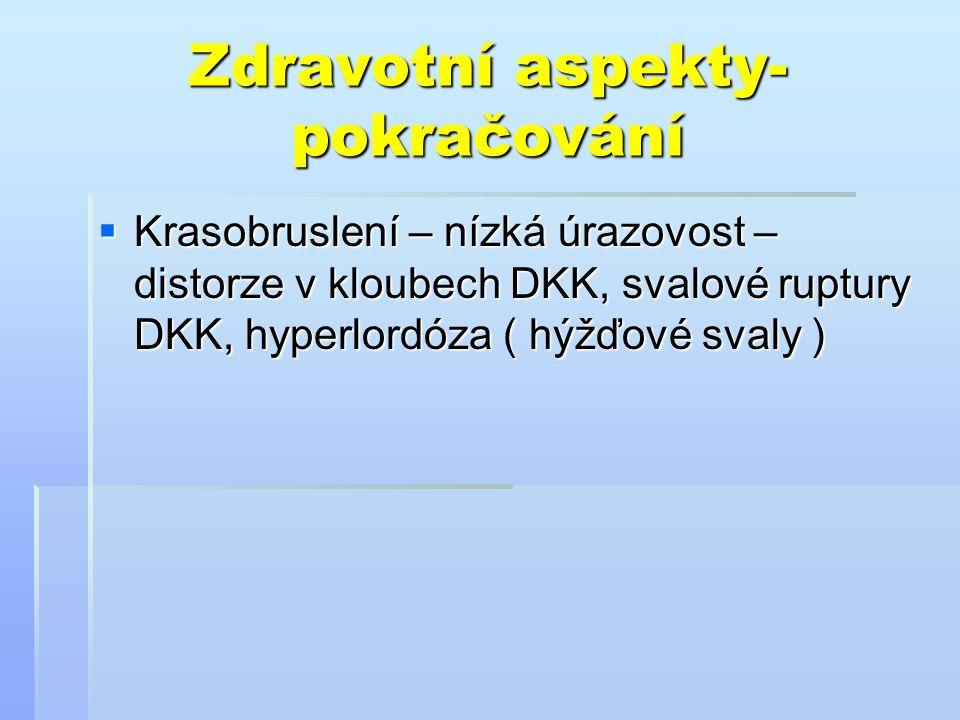 Zdravotní aspekty- pokračování  Krasobruslení – nízká úrazovost – distorze v kloubech DKK, svalové ruptury DKK, hyperlordóza ( hýžďové svaly )