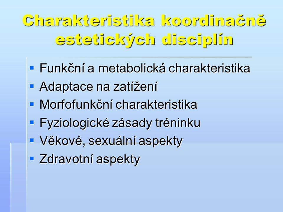 Charakteristika koordinačně estetických disciplín  Funkční a metabolická charakteristika  Adaptace na zatížení  Morfofunkční charakteristika  Fyzi