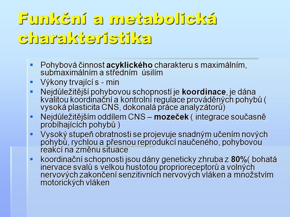 Funkční a metabolická charakteristika- pokračování  Velikost motorických jednotek svalu ( čím menší, tím koordinovanější pohyb )  Mezi koordinační schopnosti řadíme i: - rovnováha - rovnováha - prostorová orientace - prostorová orientace - flexibilita - flexibilita  Důležitá je funkce vestibulárního aparátu( orientace v prostoru )- skoky na trampolíně, do vody, SG  Důležité i další pohybové schopnosti : síla ( krasobruslení, MG,SG – odraz ), rychlost, vytrvalost