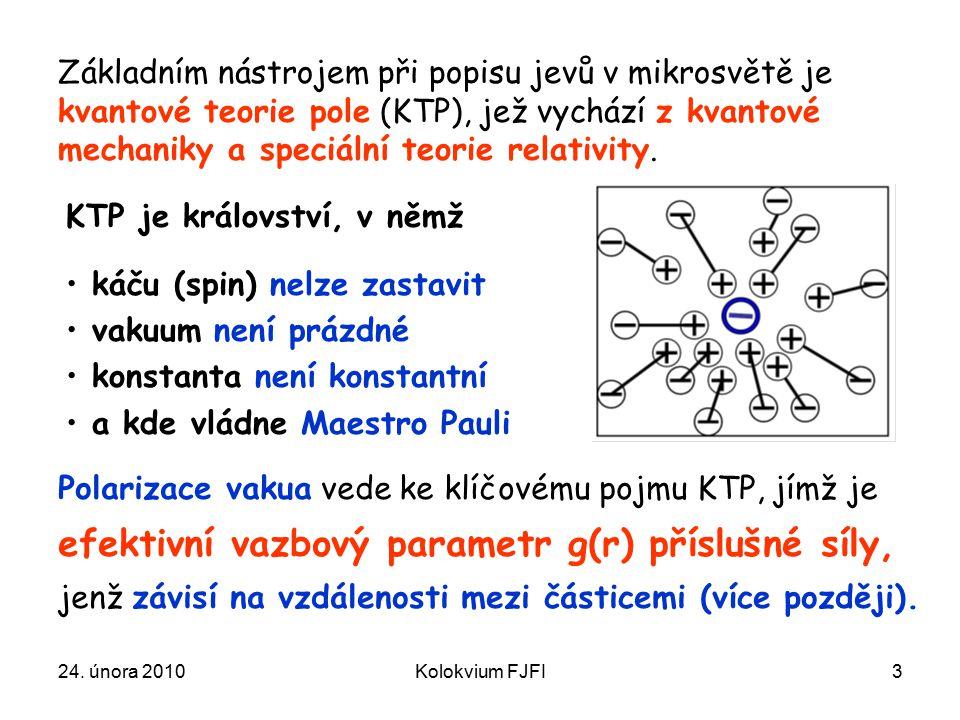 24. února 2010Kolokvium FJFI3 Základním nástrojem při popisu jevů v mikrosvětě je kvantové teorie pole (KTP), jež vychází z kvantové mechaniky a speci