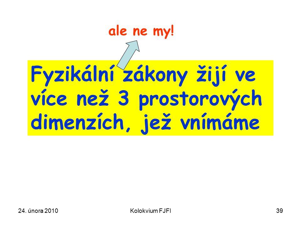 24. února 2010Kolokvium FJFI39 Fyzikální zákony žijí ve více než 3 prostorových dimenzích, jež vnímáme ale ne my!