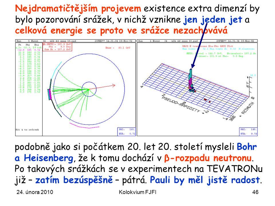 24. února 2010Kolokvium FJFI46 Nejdramatičtějším projevem existence extra dimenzí by bylo pozorování srážek, v nichž vznikne jen jeden jet a celková e