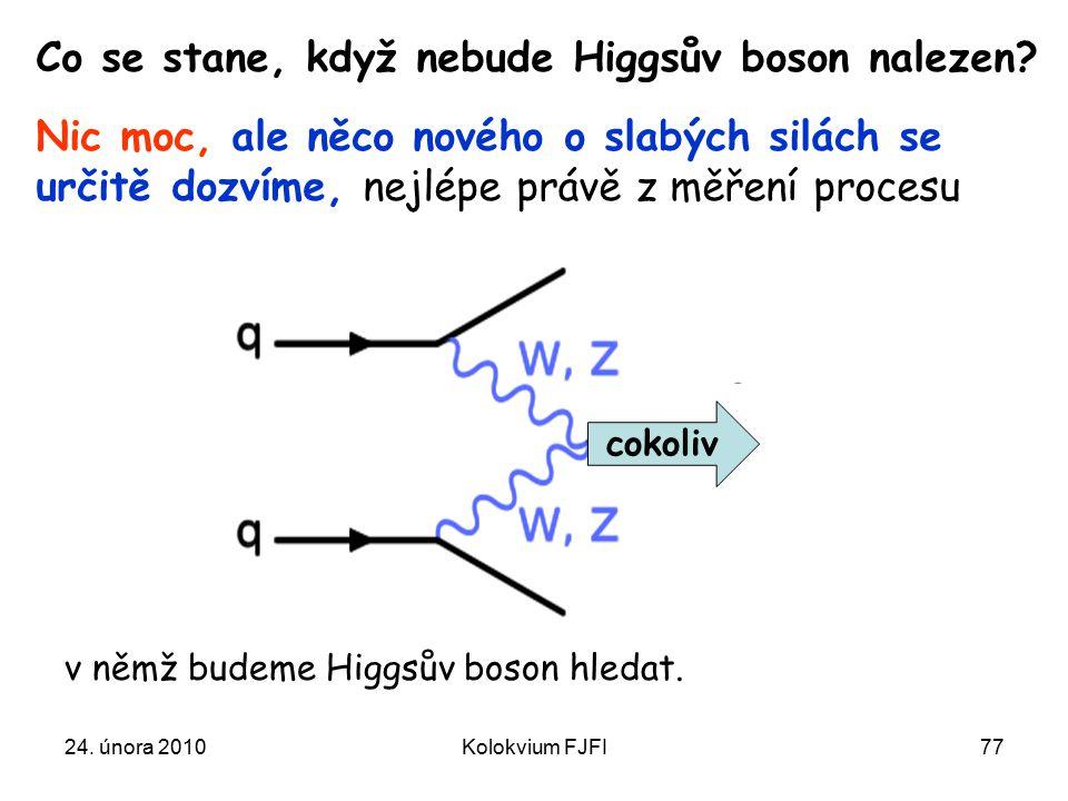 24.února 2010Kolokvium FJFI77 Co se stane, když nebude Higgsův boson nalezen.