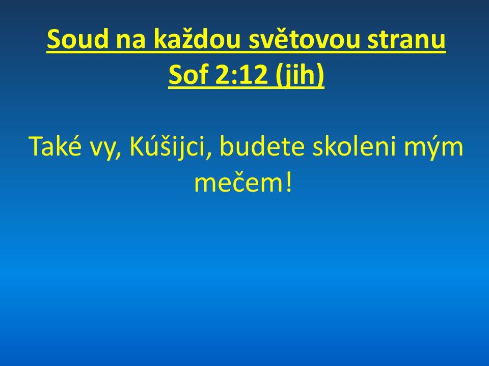 Soud na každou světovou stranu Sof 2:13-15 (sever) Napřáhne svou ruku proti severu, zahubí Ašúra, z Ninive učiní zpustošené místo, stepní suchopár; v jeho středu budou odpočívat stáda, všechna zvěř toho pronároda.