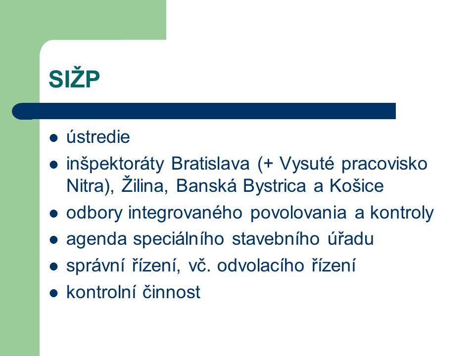 SIŽP ústredie inšpektoráty Bratislava (+ Vysuté pracovisko Nitra), Žilina, Banská Bystrica a Košice odbory integrovaného povolovania a kontroly agenda speciálního stavebního úřadu správní řízení, vč.