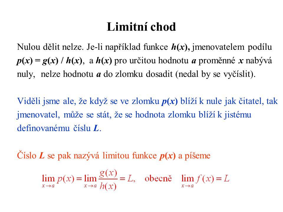 Limitní chod Nulou dělit nelze. Je-li například funkce h(x), jmenovatelem podílu p(x) = g(x) / h(x), a h(x) pro určitou hodnotu a proměnné x nabývá nu