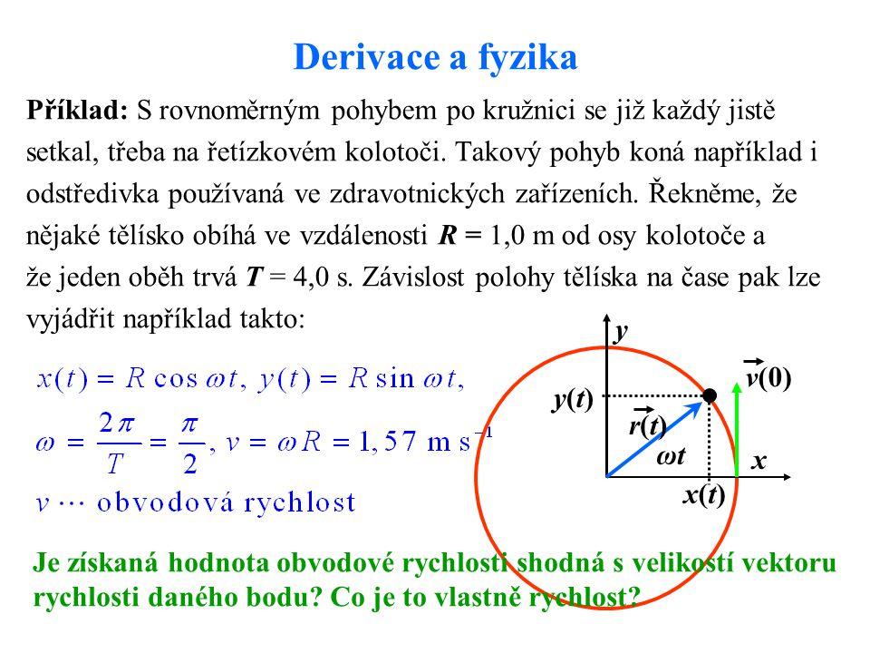 Derivace a fyzika Příklad: S rovnoměrným pohybem po kružnici se již každý jistě setkal, třeba na řetízkovém kolotoči.