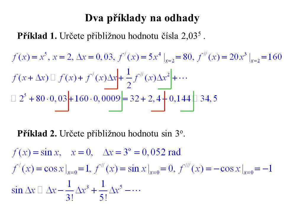 Dva příklady na odhady Příklad 1. Určete přibližnou hodnotu čísla 2,03 5. Příklad 2. Určete přibližnou hodnotu sin 3 o.
