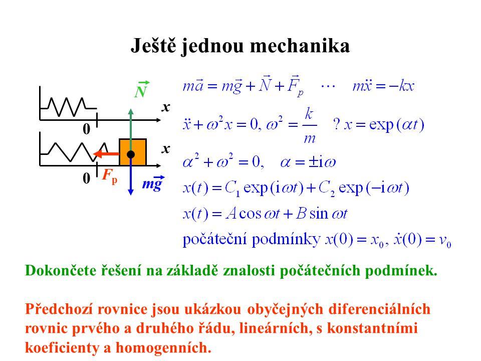 Ještě jednou mechanika 0 x 0 mg N x FpFp Dokončete řešení na základě znalosti počátečních podmínek. Předchozí rovnice jsou ukázkou obyčejných diferenc