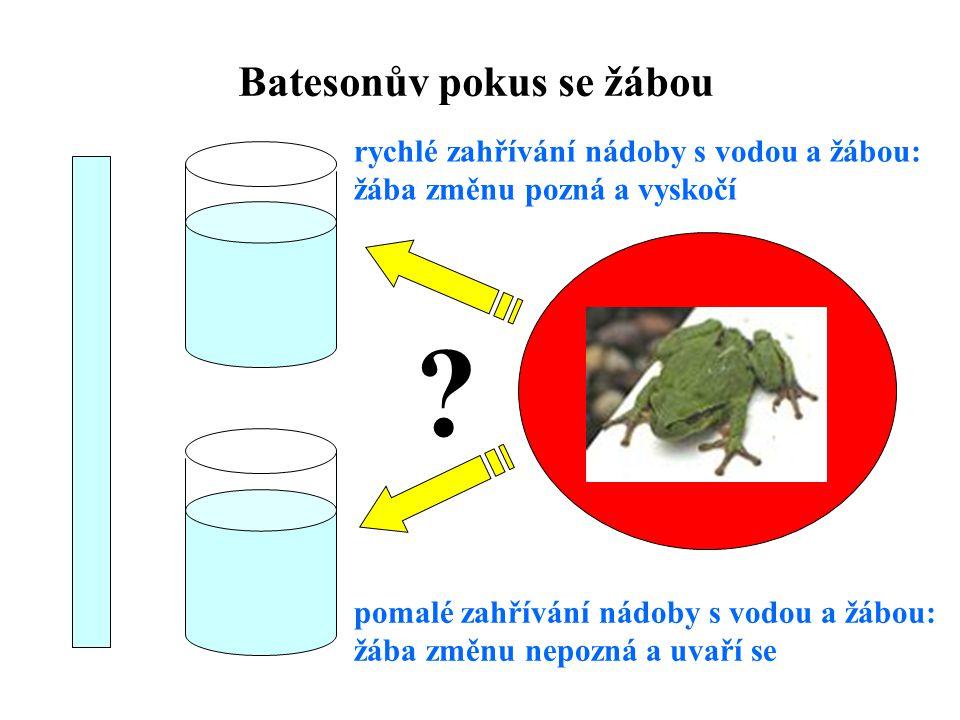 Batesonův pokus se žábou ? rychlé zahřívání nádoby s vodou a žábou: žába změnu pozná a vyskočí pomalé zahřívání nádoby s vodou a žábou: žába změnu nep