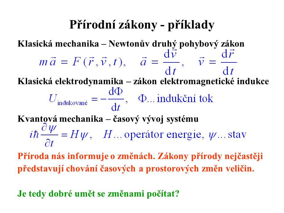 Přírodní zákony - příklady Klasická mechanika – Newtonův druhý pohybový zákon Klasická elektrodynamika – zákon elektromagnetické indukce Kvantová mech
