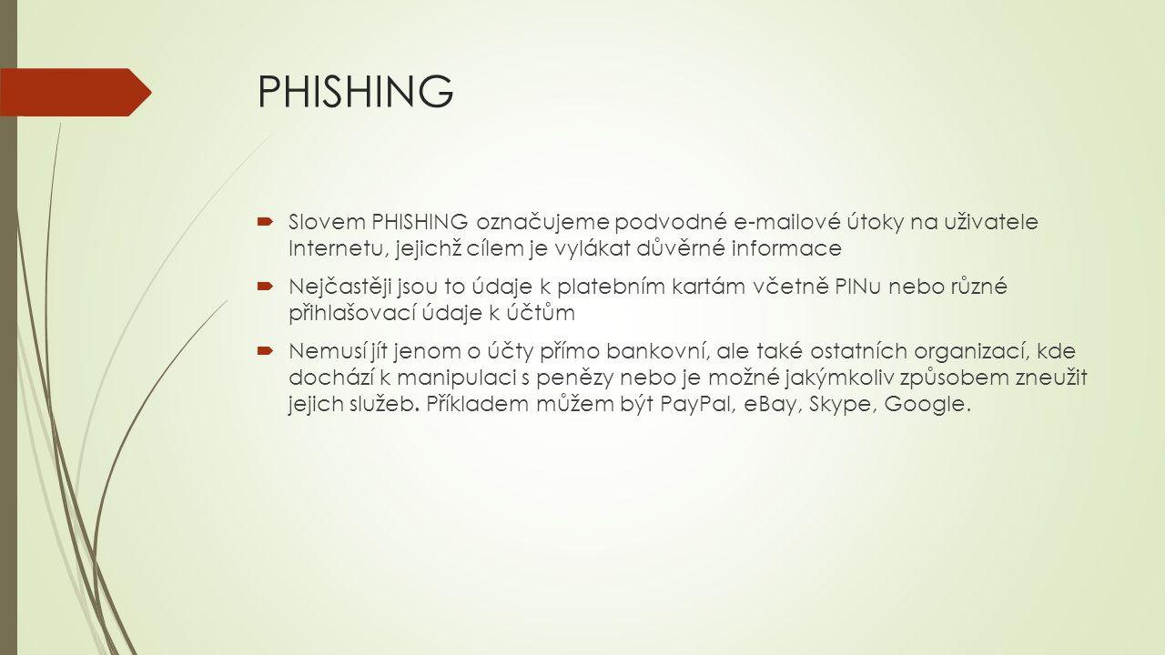 PHISHING  Slovem PHISHING označujeme podvodné e-mailové útoky na uživatele Internetu, jejichž cílem je vylákat důvěrné informace  Nejčastěji jsou to