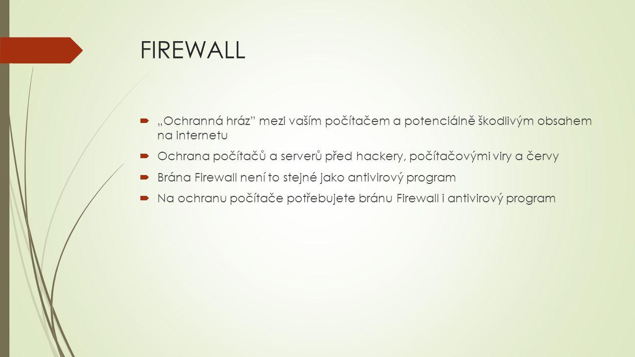 SHRNUTÍ:  Doporučení: mějte nainstalovaný kvalitní antivirový program mějte zapnutý Firewall instalujte aktualizace jednou za čas zkontrolujte systém antivirovou kontrolou nenavštěvujte podezřelé a neznámé stránky Nejdůležitější ochranou před zneužitím osobních údajů je zdravý lidský rozum