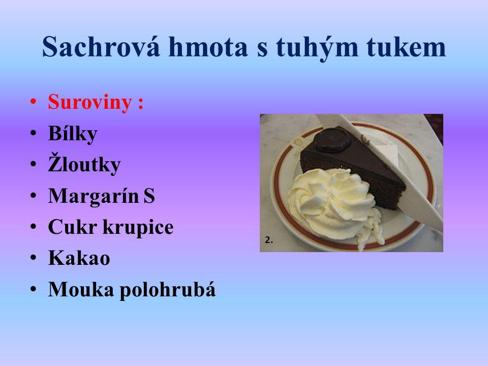 Sachrová hmota s tuhým tukem Suroviny : Bílky Žloutky Margarín S Cukr krupice Kakao Mouka polohrubá 2.