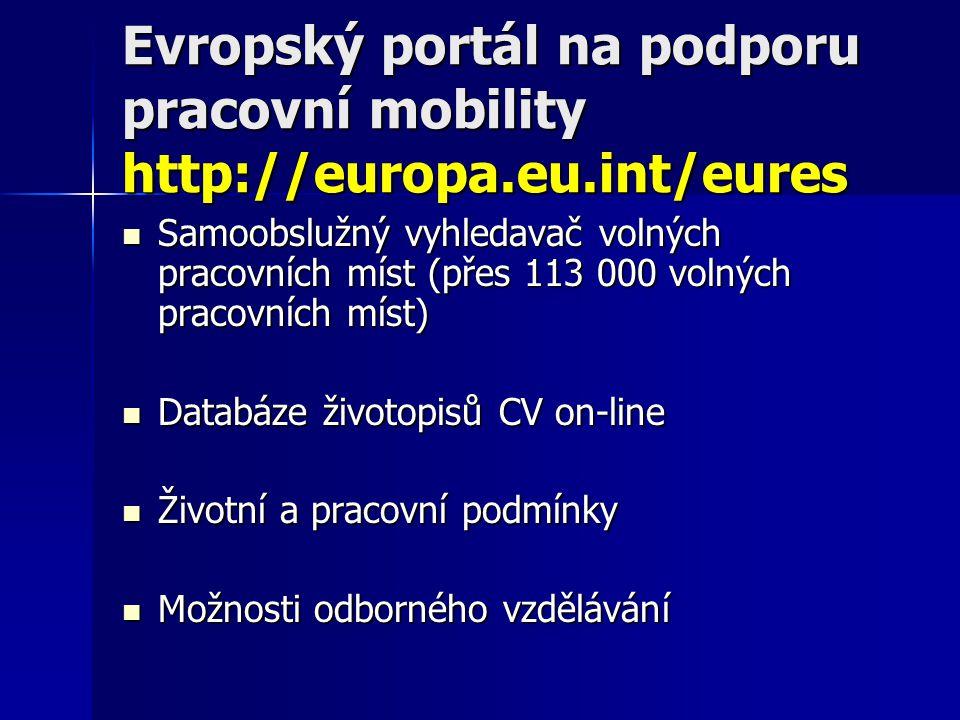 Evropský portál na podporu pracovní mobility http://europa.eu.int/eures Samoobslužný vyhledavač volných pracovních míst (přes 113 000 volných pracovních míst) Samoobslužný vyhledavač volných pracovních míst (přes 113 000 volných pracovních míst) Databáze životopisů CV on-line Databáze životopisů CV on-line Životní a pracovní podmínky Životní a pracovní podmínky Možnosti odborného vzdělávání Možnosti odborného vzdělávání