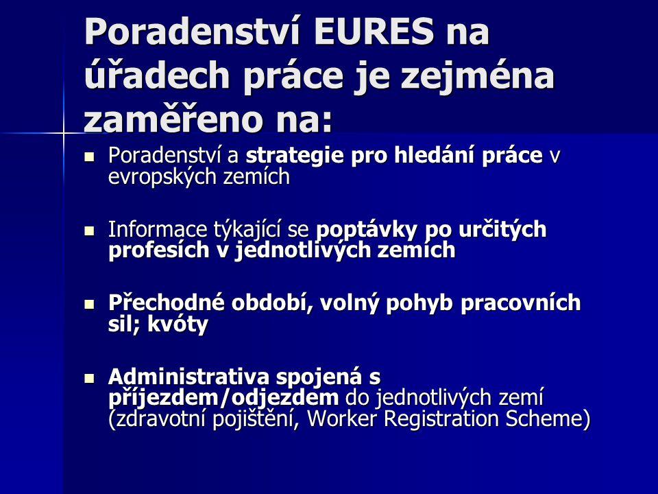 Poradenství EURES na úřadech práce je zejména zaměřeno na: Poradenství a strategie pro hledání práce v evropských zemích Poradenství a strategie pro hledání práce v evropských zemích Informace týkající se poptávky po určitých profesích v jednotlivých zemích Informace týkající se poptávky po určitých profesích v jednotlivých zemích Přechodné období, volný pohyb pracovních sil; kvóty Přechodné období, volný pohyb pracovních sil; kvóty Administrativa spojená s příjezdem/odjezdem do jednotlivých zemí (zdravotní pojištění, Worker Registration Scheme) Administrativa spojená s příjezdem/odjezdem do jednotlivých zemí (zdravotní pojištění, Worker Registration Scheme)