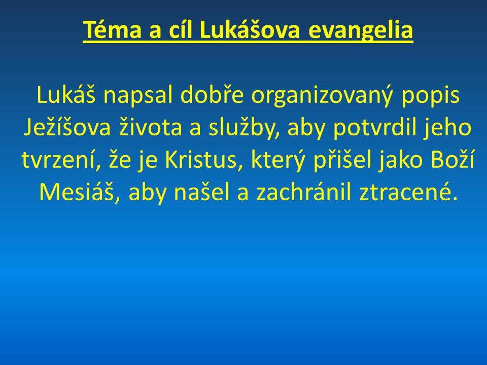 Téma a cíl Lukášova evangelia Lukáš napsal dobře organizovaný popis Ježíšova života a služby, aby potvrdil jeho tvrzení, že je Kristus, který přišel j