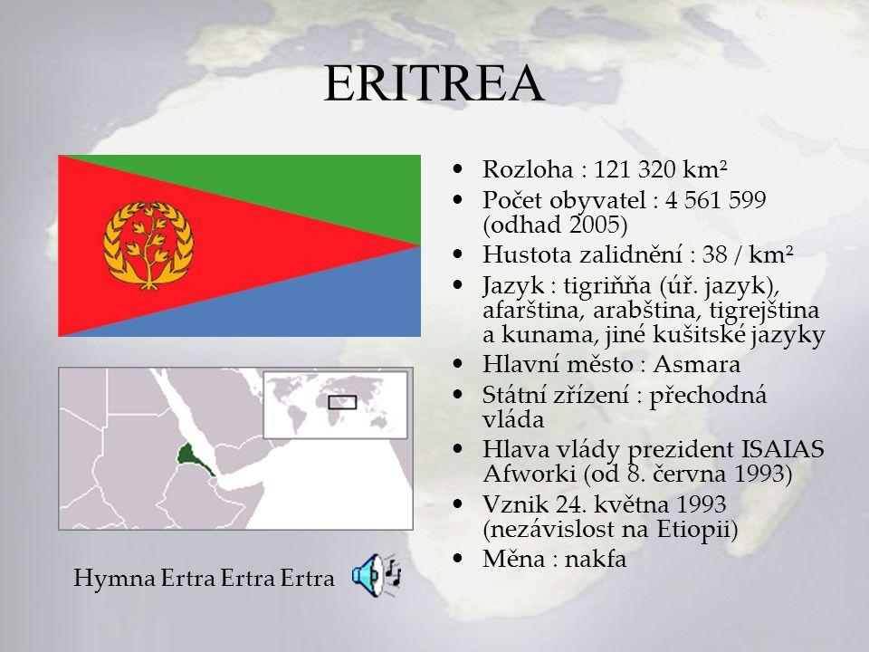 ERITREA Rozloha : 121 320 km² Počet obyvatel : 4 561 599 (odhad 2005) Hustota zalidnění : 38 / km² Jazyk : tigriňňa (úř. jazyk), afarština, arabština,