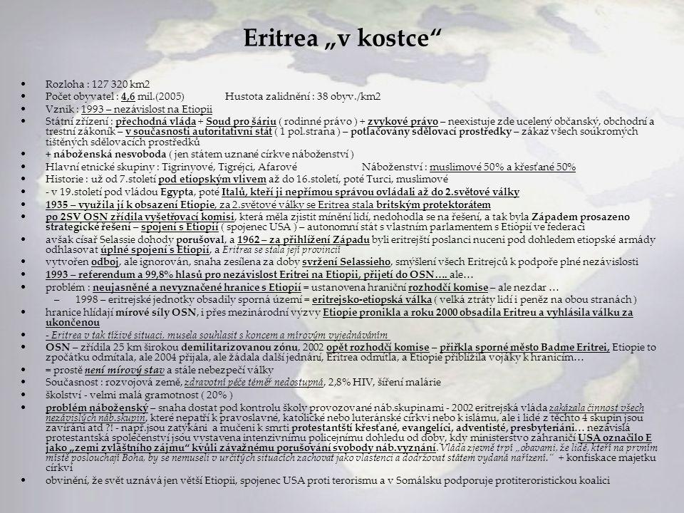 """Eritrea """"v kostce"""" Rozloha : 127 320 km2 Počet obyvatel : 4,6 mil.(2005)Hustota zalidnění : 38 obyv./km2 Vznik : 1993 – nezávislost na Etiopii Státní"""