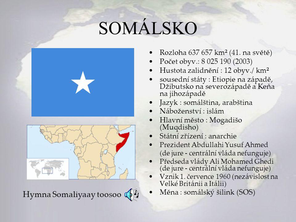 SOMÁLSKO Rozloha 637 657 km² (41. na světě) Počet obyv.: 8 025 190 (2003) Hustota zalidnění : 12 obyv./ km² sousední státy : Etiopie na západě, Džibut