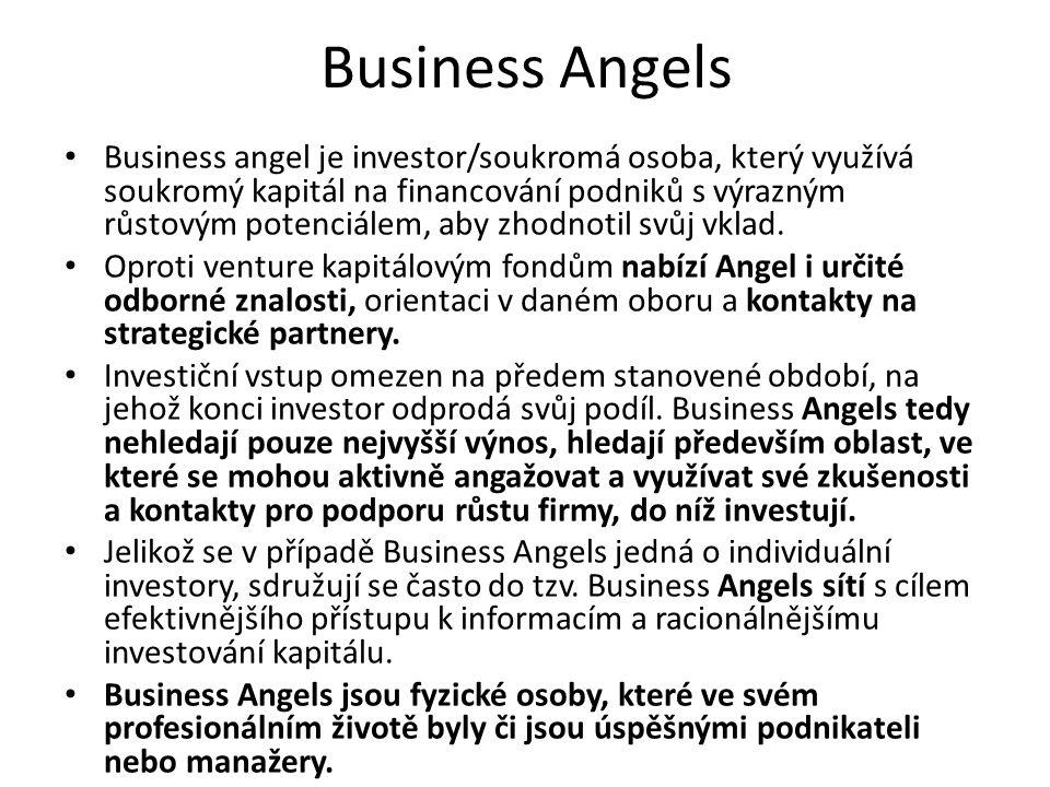 Business Angels Business angel je investor/soukromá osoba, který využívá soukromý kapitál na financování podniků s výrazným růstovým potenciálem, aby zhodnotil svůj vklad.