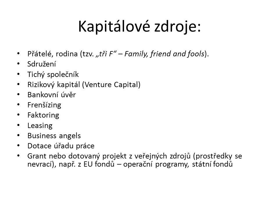 """Kapitálové zdroje: Přátelé, rodina (tzv. """"tři F – Family, friend and fools)."""