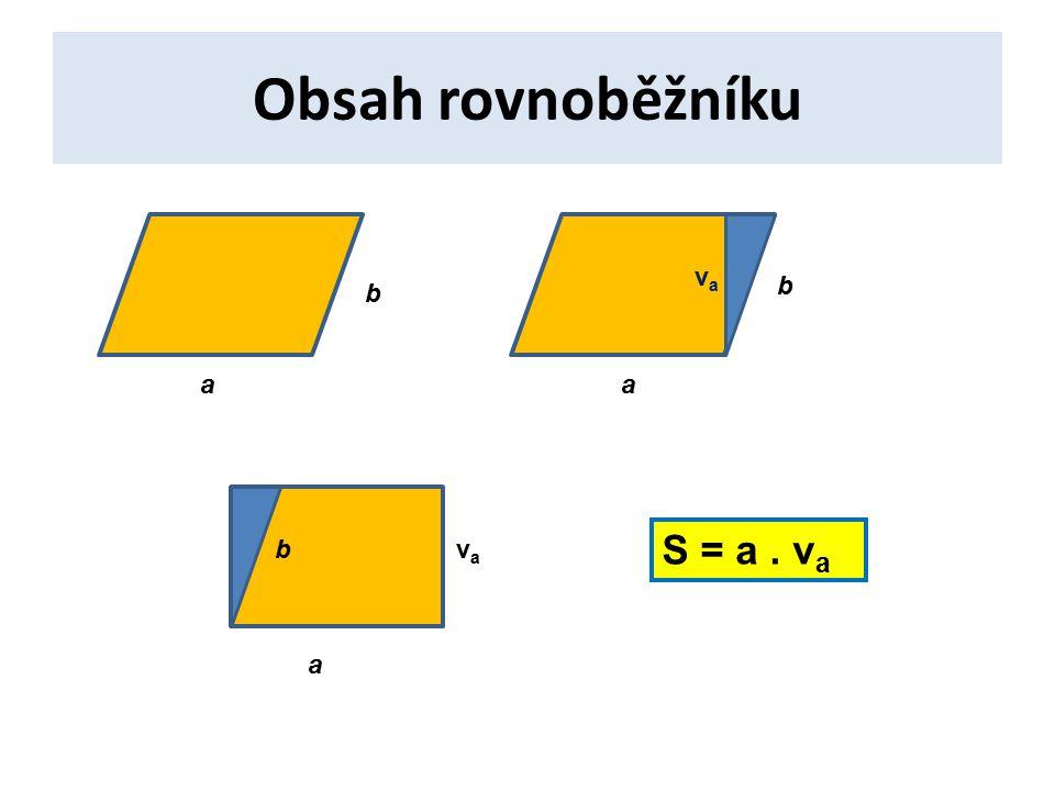 Obsah rovnoběžníku a b vava a b a bvava S = a. v a