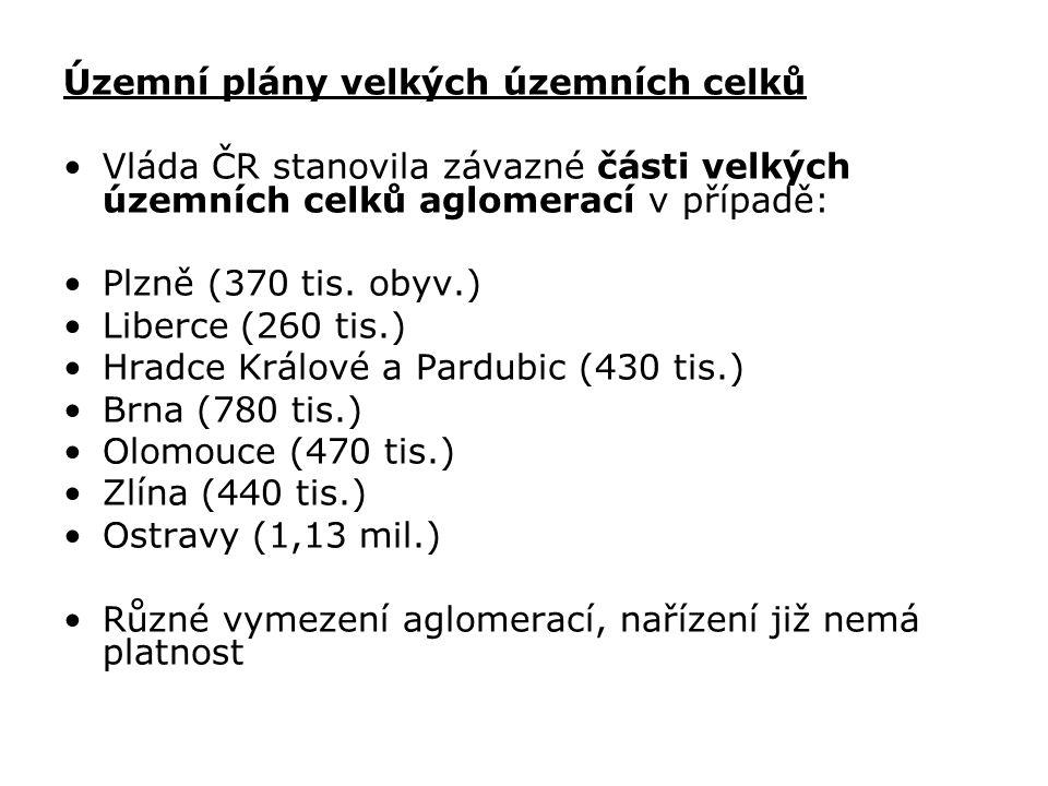 Územní plány velkých územních celků Vláda ČR stanovila závazné části velkých územních celků aglomerací v případě: Plzně (370 tis. obyv.) Liberce (260