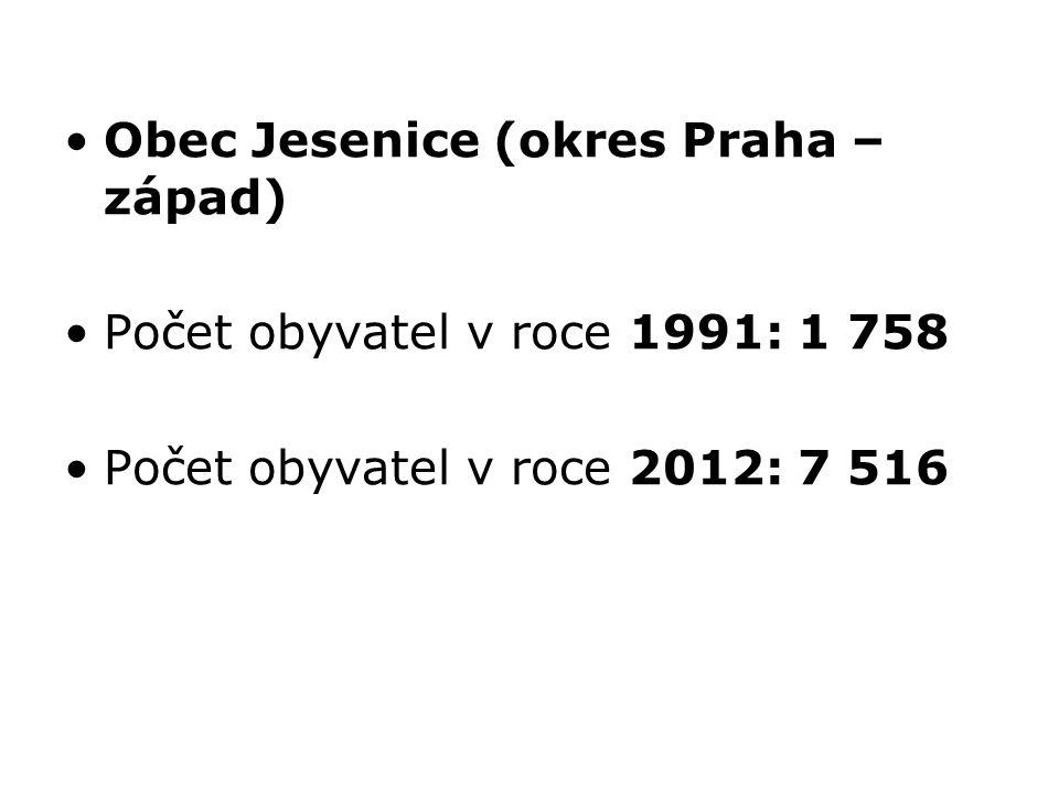 Obec Jesenice (okres Praha – západ) Počet obyvatel v roce 1991: 1 758 Počet obyvatel v roce 2012: 7 516