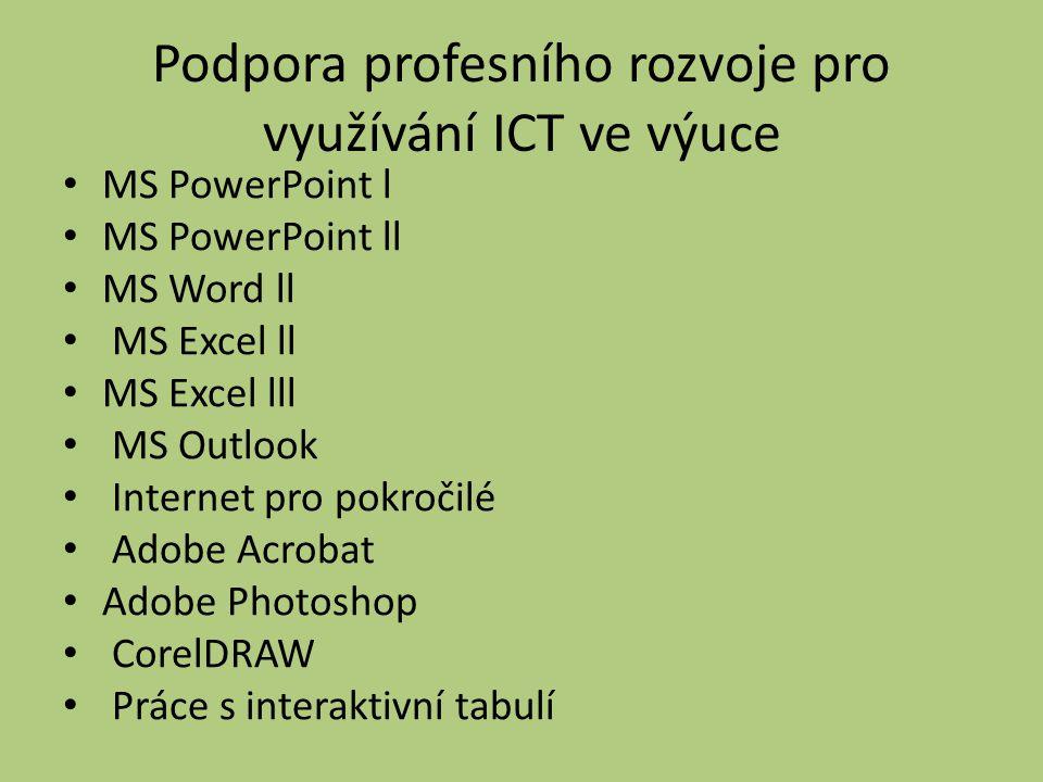 Podpora profesního rozvoje pro využívání ICT ve výuce MS PowerPoint l MS PowerPoint ll MS Word ll MS Excel ll MS Excel lll MS Outlook Internet pro pokročilé Adobe Acrobat Adobe Photoshop CorelDRAW Práce s interaktivní tabulí